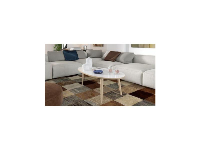Narvik table basse ovale style scandinave blanc brillant avec pieds en bois - l 110 x l 55 cm