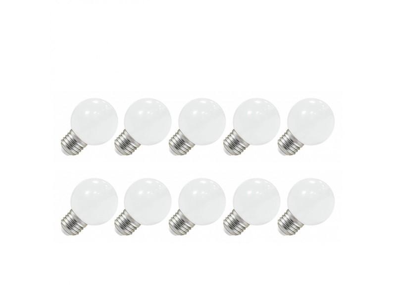 Pack 10x ampoule led e27 bulb opaque blanc chaud g45 1w (9w) 3000°k
