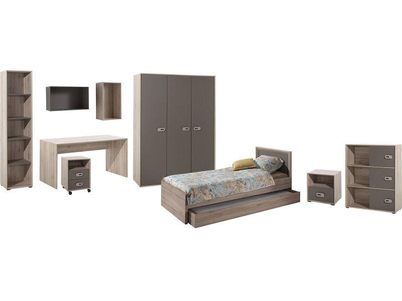 Ensemble ultra complet 9 pièces pour chambre moderne avec lit 90x200 ...