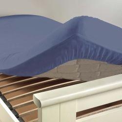 Drap housse coton 57 fils bleu azur 90 x 190 cm