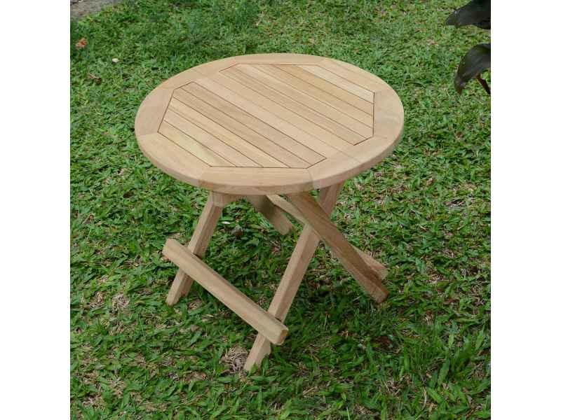 Table basse pliante ronde en teck ecograde kuta ø 50 cm Teck massif de qualité Ecograde©