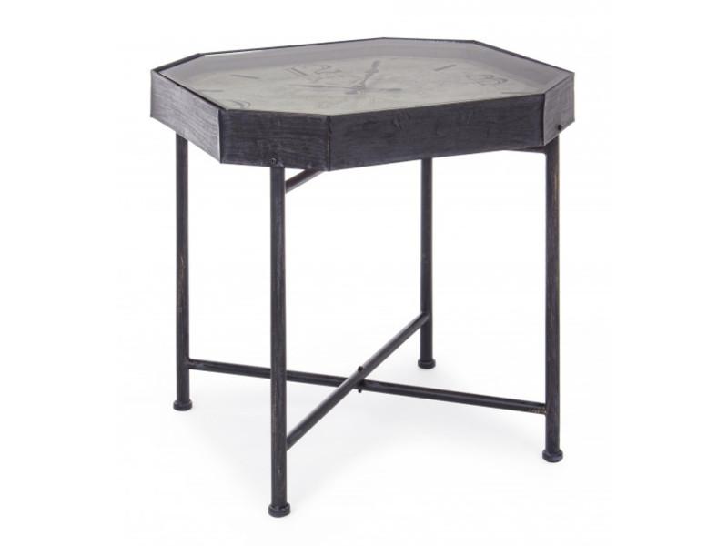 Table basse avec horloge en fer et bois coloris noir - ø 60 x h 60 cm -pegane-