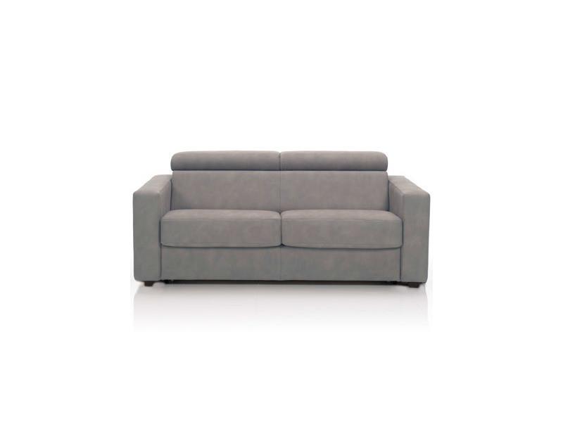 Canapé convertible 3 places, tissu déhoussable - gris