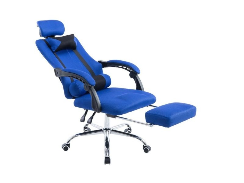 fauteuil de bureau ergonomique avec repose pieds extensible appui t te bleu bur10091 conforama. Black Bedroom Furniture Sets. Home Design Ideas