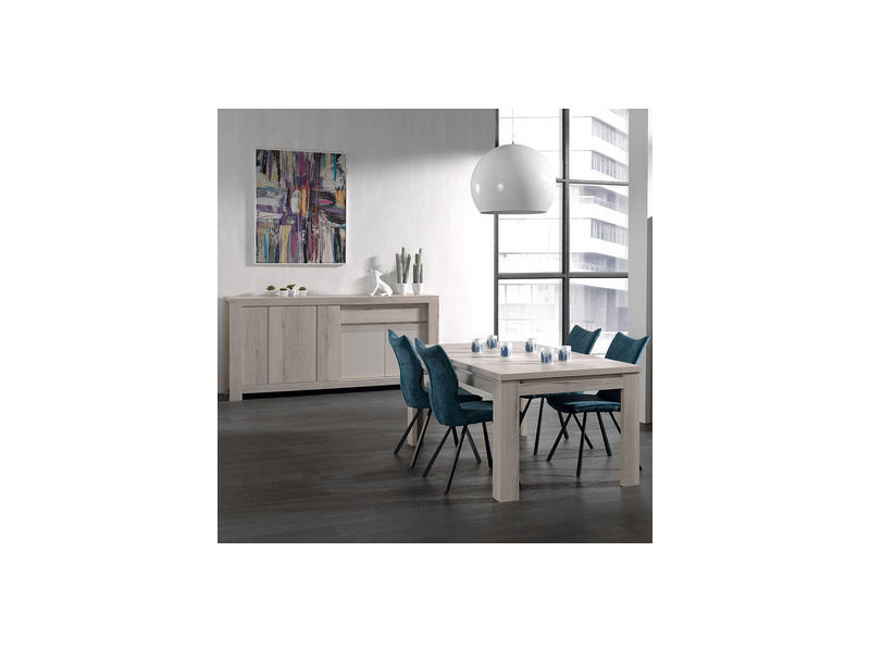 Salle à manger moderne couleur chêne clair et beige louise - Vente ...