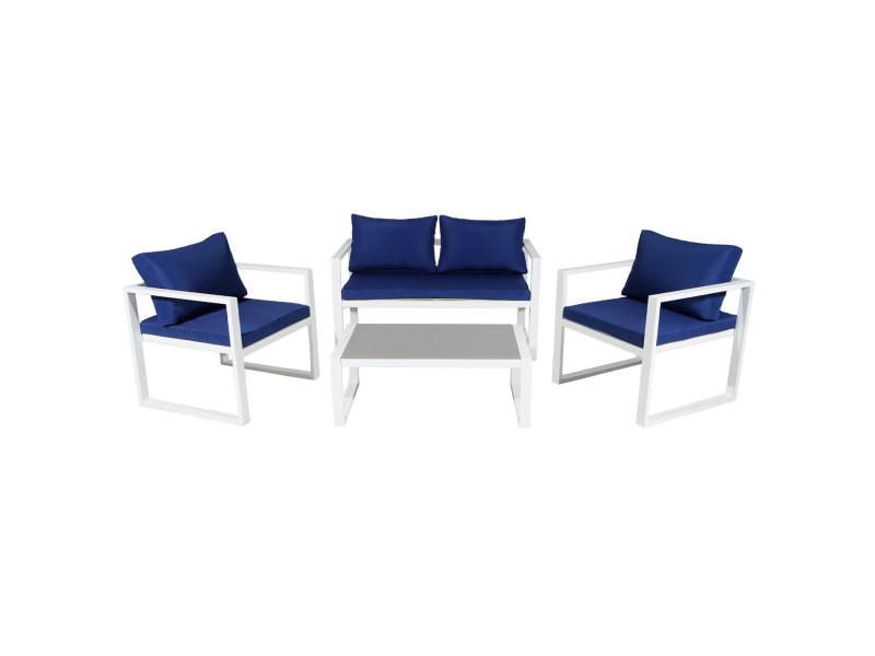 Salon de jardin ibiza en tissu bleu 4 places - aluminum blanc ...