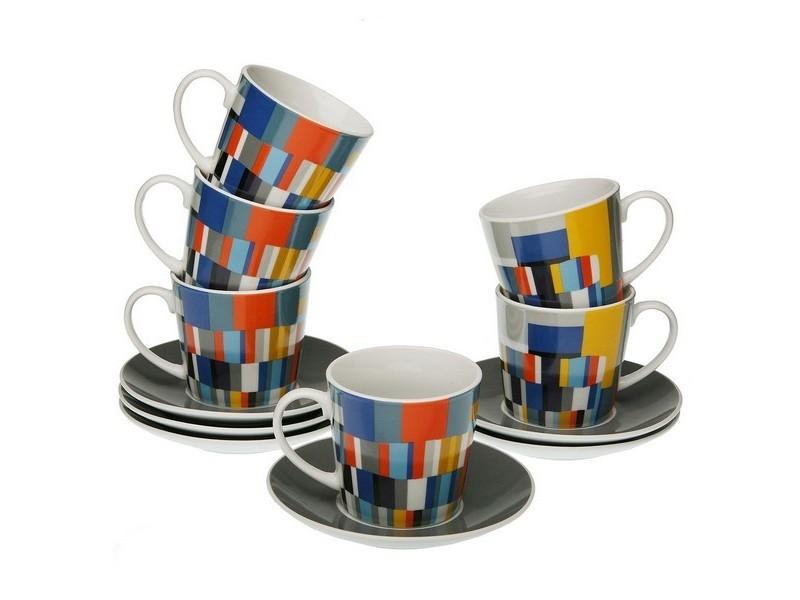 Tasses et thermos stylé ensemble de tasses à café etna porcelaine (6 pièces)
