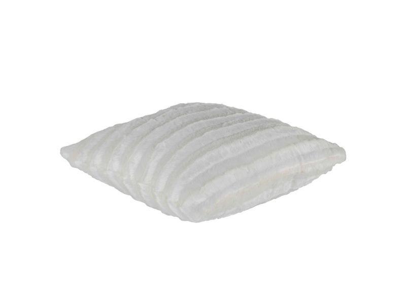 Housse de coussin 45 x 45 cm fausse fourrure blanche - blanc - /blanc FF-COU/UNI/PARENT