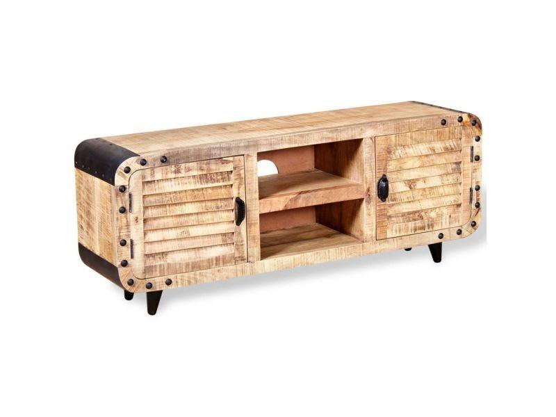 Meuble télé buffet tv télévision design pratique bois de manguier massif 120 cm helloshop26 2502141