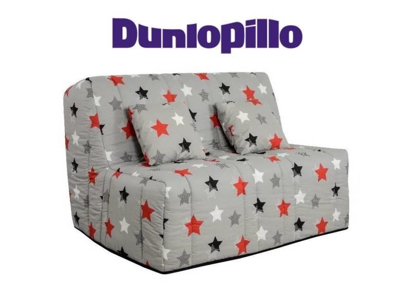 Canapé convertible bz milo imprimé star système slyde matelas dunlopillo 13cm couchage 160*200cm 20100875422