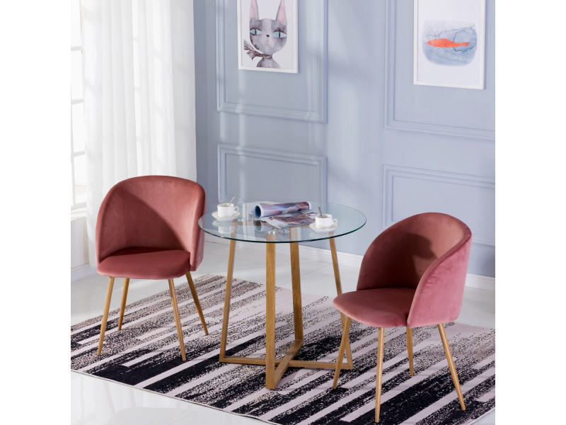 Table ¨¤ manger ronde transparente scandinave ¦µ80*75cm et 2 fauteuils en velours rose 47x 52 x 82 cm