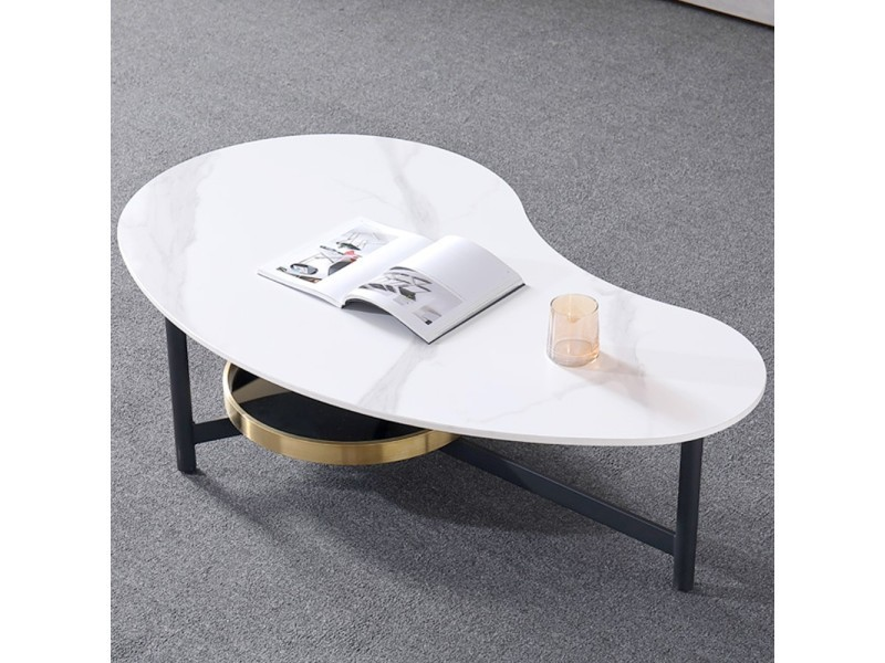 Table basse design arrondi smoke - blanc effet marbre