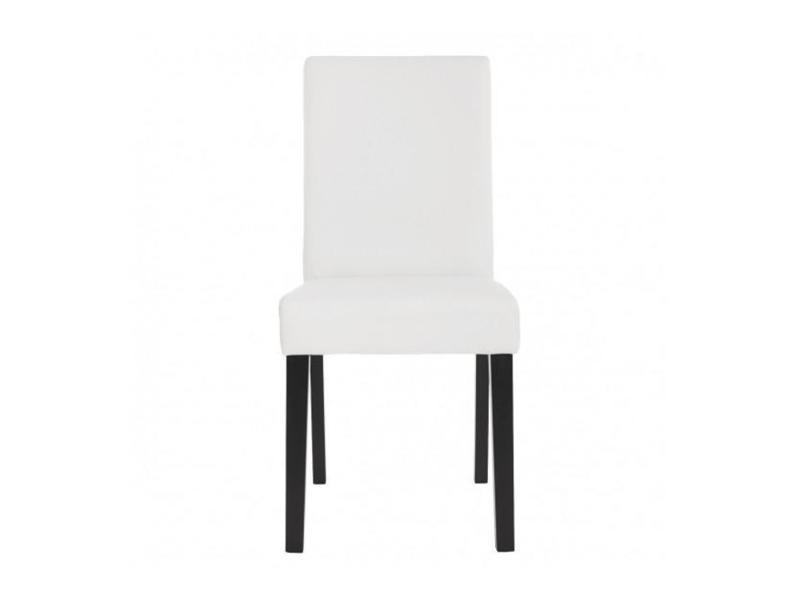 Lot de 2 chaises de salle à manger simili cuir blanc mat
