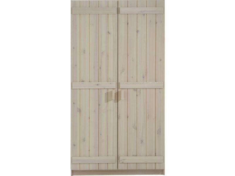 Armoire 2 portes pour enfant 101 cm en pin massif coloris blanc ...