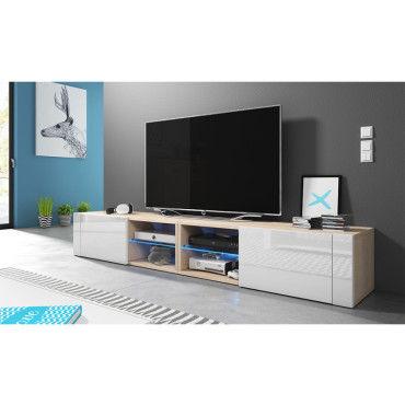Meuble Tv Banc Tv élégant Double 2x100 Cm Effet Chêne