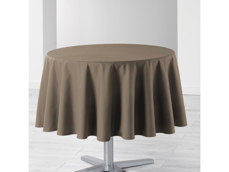 Nappe de table ronde ø180cm essentiel taupe antitache