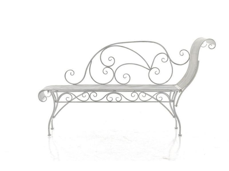 Banc De Jardin Banquette Design En Fer Forgé Blanc Vieilli Dossier