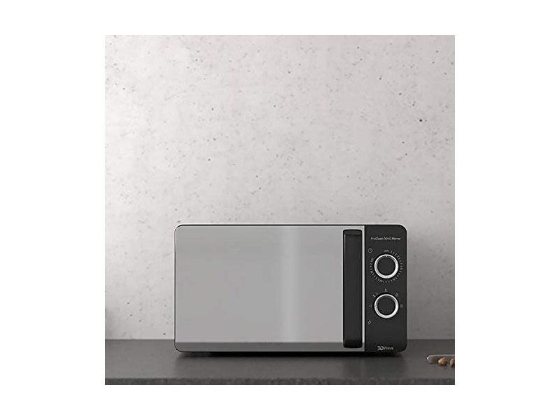 Micro ondes de 20l miroir avec minuterie 700w noir