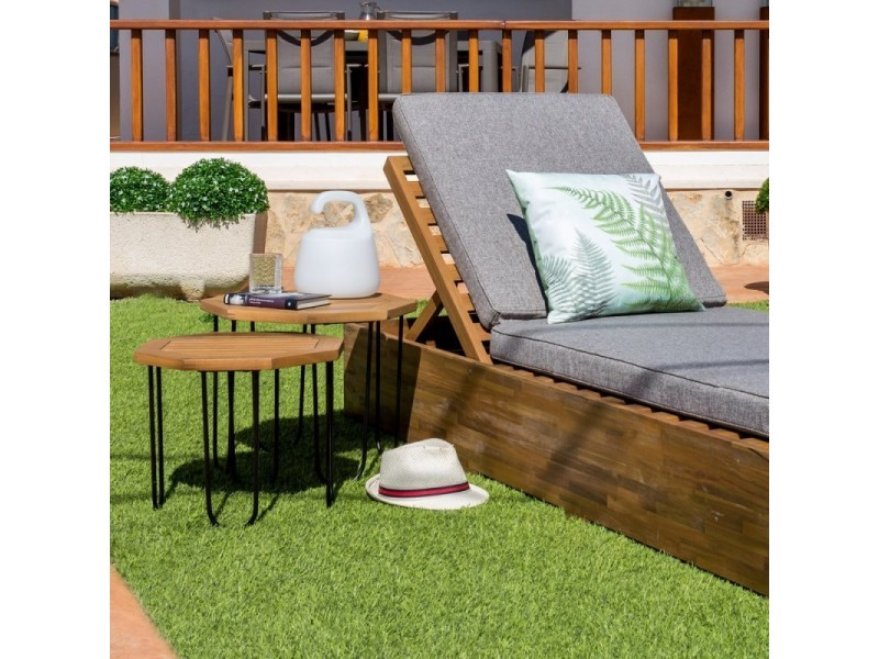 Table de salon de jardin octogonale 50cm en bois d\'acacia et métal ...