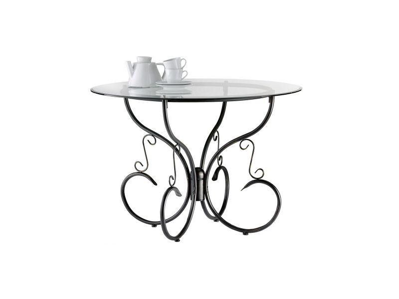 Table Ronde En Verre Conforama.Table De Cuisine Salle A Manger Ronde En Verre Et Acier