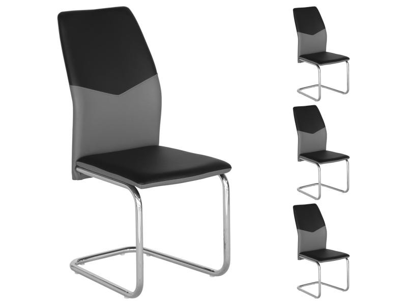 Gallery of lot de chaises de salle manger leona noir gris for Conforama table et chaises