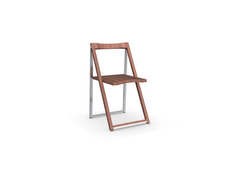Chaise pliante skip noyer et aluminium satiné 20100839838