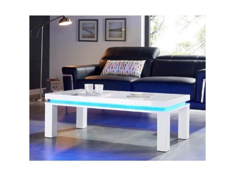 Table basse flash table basse avec led bleu 120x60 cm - laqué blanc brillant