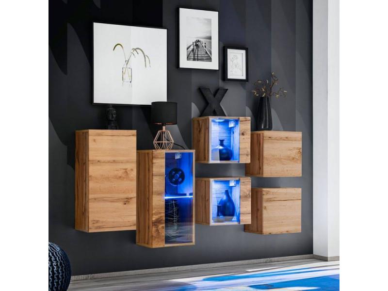 Ensemble meuble mural switch sb iv - l 150 x p 30 x h 80 cm - marron