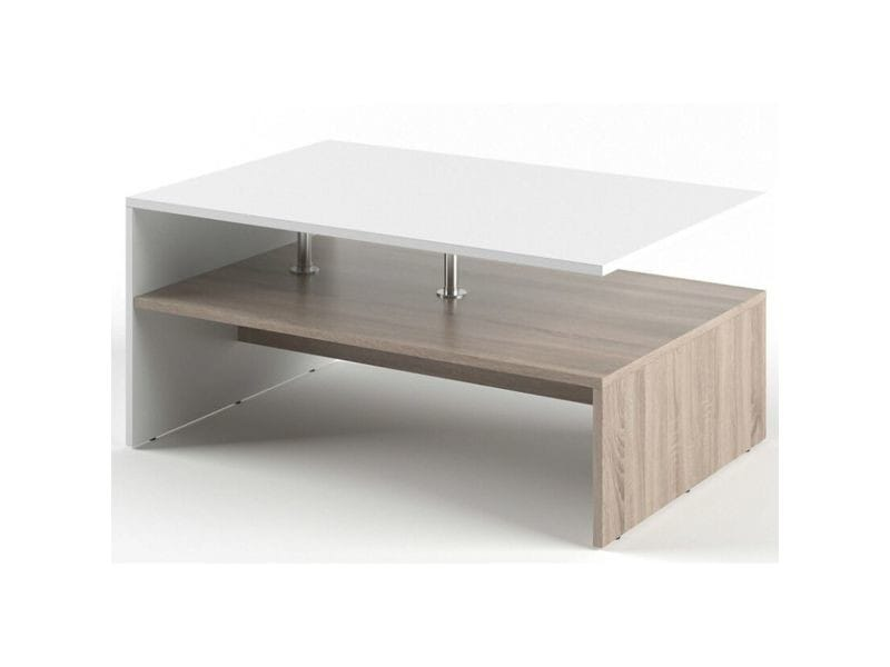 Table basse rectangulaire design scandinave isidor - l. 90 x h. 60 cm - couleur bois et blanc