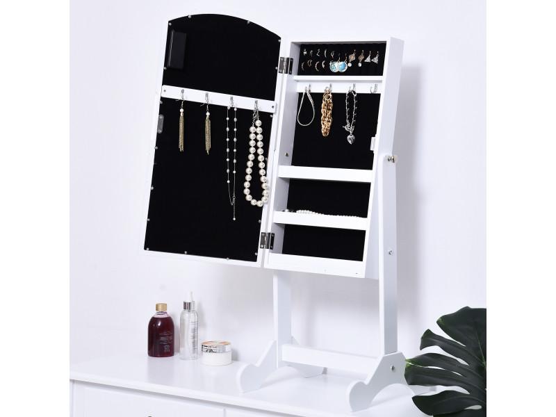 Armoire à bijoux avec miroir sur pied multi-rangements inclinaison réglable éclairage led dim ...