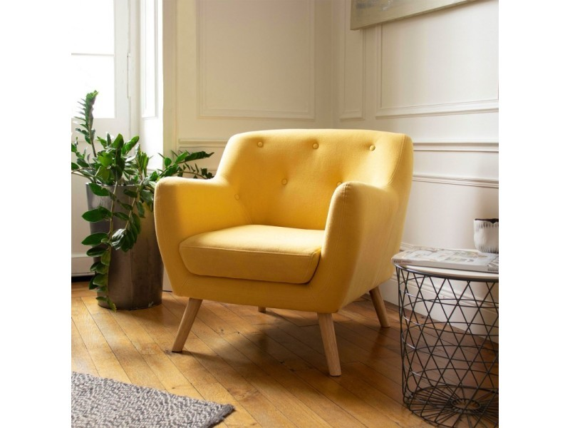 fauteuil scandinave en tissu jaune moutarde vente de tous les fauteuils conforama. Black Bedroom Furniture Sets. Home Design Ideas
