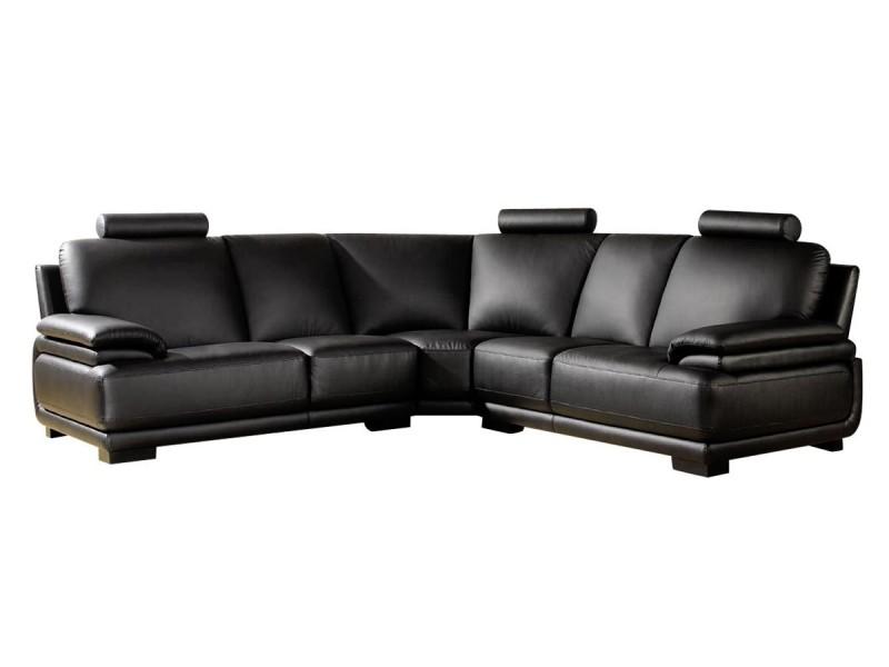 Canapé cuir angle darwin - réversible - noir