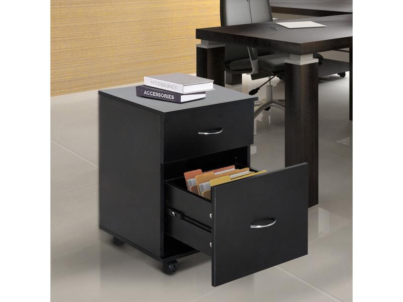 caisson de bureau rangement sur roulettes 2 tiroirs coulissants 41l x 39i x 58h cm agglom r. Black Bedroom Furniture Sets. Home Design Ideas