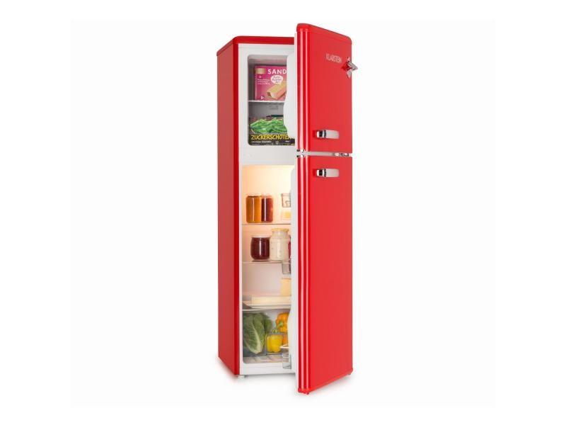 Klarstein audrey combiné réfrigérateur congélateur haut ( 97l + 39l ) - 41 db - classe a+ - look rétro rouge