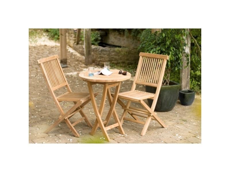 Salon de jardin en teck avec 1 table ronde pliante de jardin ...