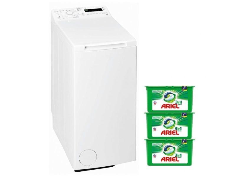 Whirlpool lave linge top 7kg 1200trs/min a+++ tambour 42l couleurs 15°c machine à laver