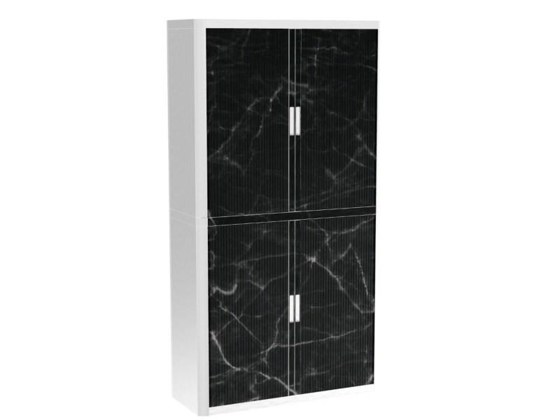 Armoire de bureau métalique porte coulissante h 2m - marbre noir