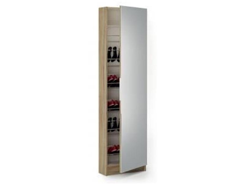Armoire à chaussures chêne brossé/blanc perle avec miroir et 1 porte, l 50 x p 20 x h 180,50 cm -pegane-
