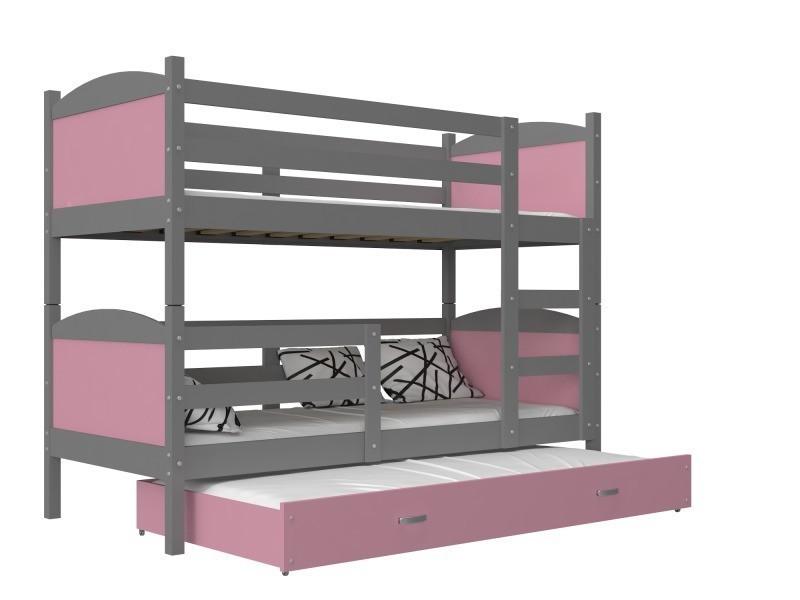 Lit superposé 3 places mateo 190x90 gris rose livré avec tiroir, 3 sommiers  et 3 matelas en mousse de 7cm offerts - Vente de Lit enfant - Conforama cba138ab1012