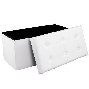 Banc coffre de rangement pouf de rangement pliable blanc 76 x 38 x 38 cm lsf106 SONGMICS Gain de ...
