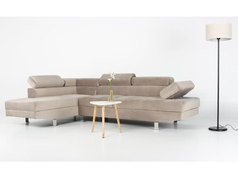 Canapé d angle avec têtières relevables alfa velours taupe - Conforama 333f8045825c