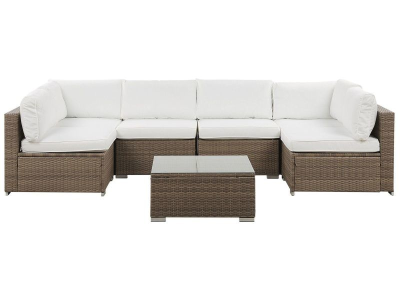 Salon de jardin 6 places en rotin marron coussins blancs belvedere 214796