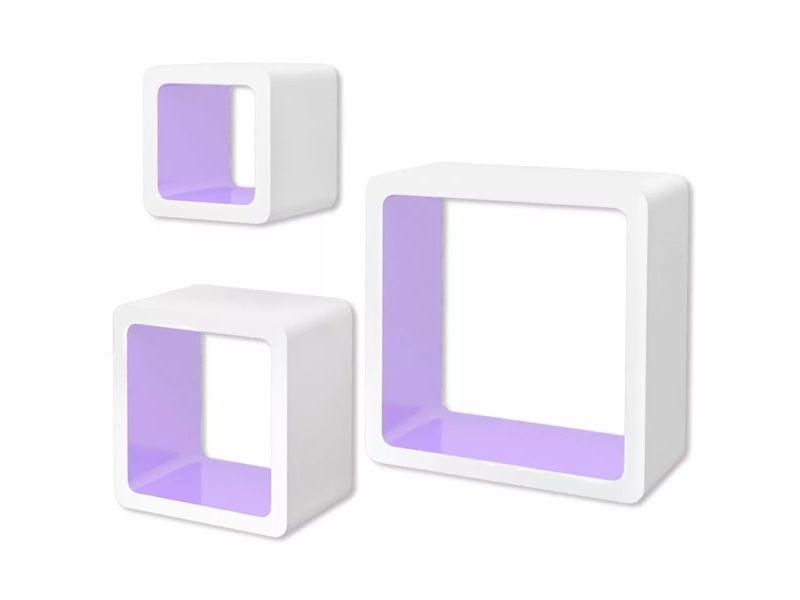 Vidaxl 3 etagères cubes murales en mdf blanc-violet pour livres/dvd 242172
