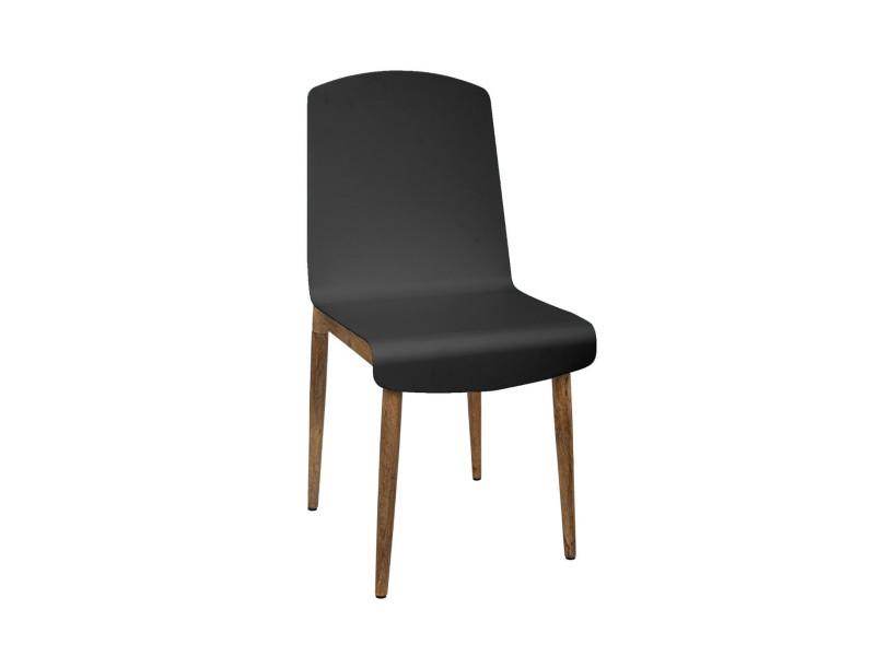 Atmosphera - chaise de salle à manger en bois de manguier et acier noir h 87.5 cm