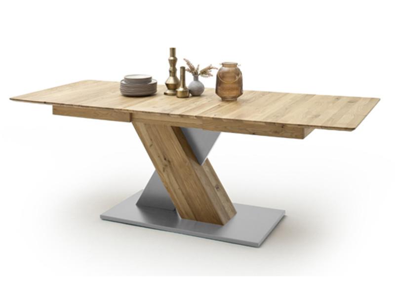 Table à manger extensible en chêne sauvage / gris - l.140-185 x h.77 x p.90 cm -pegane- PEGANE