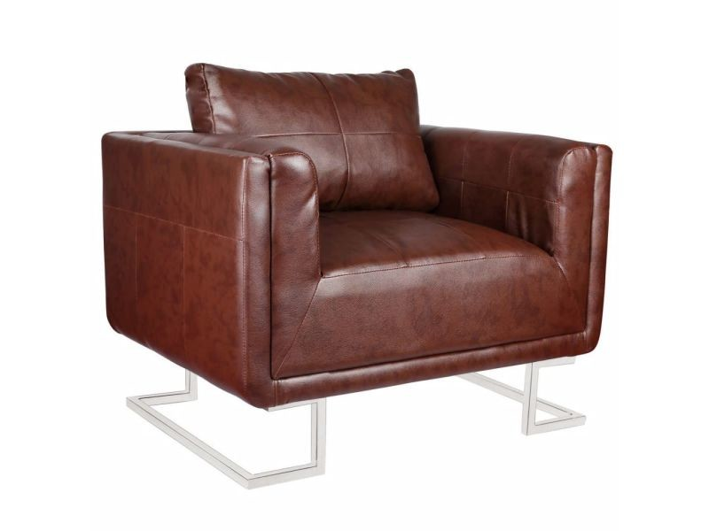 Fauteuil chaise siège lounge design club sofa salon cube avec pieds chromés cuir synthétique marron helloshop26 1102041/3