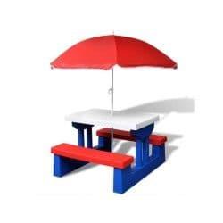 Vidaxl table de pique-nique pour enfants avec parasol