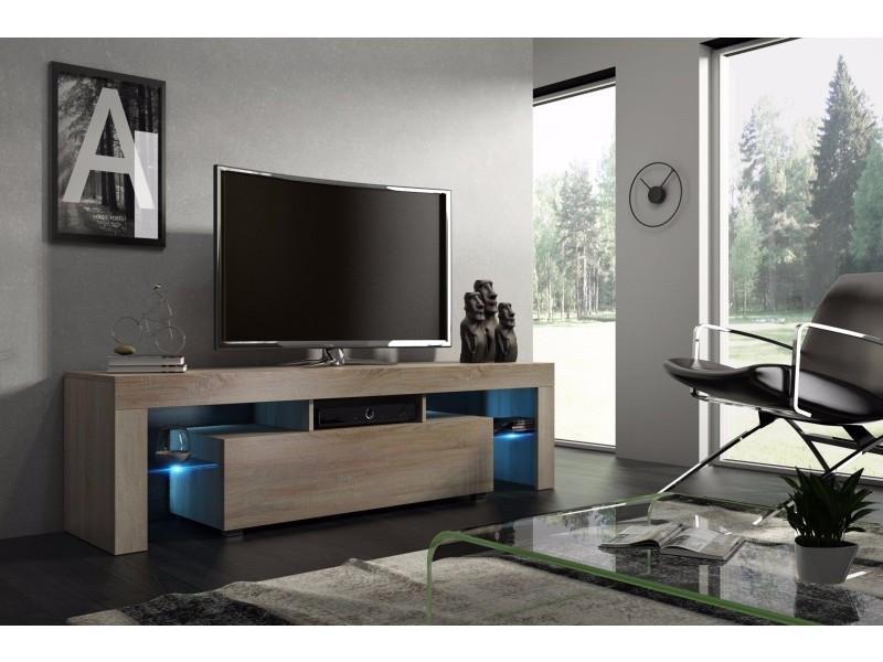 Meuble Tv Mdf 160 Cm Couleur Chene Avec Led Vente De Meuble Tv Conforama