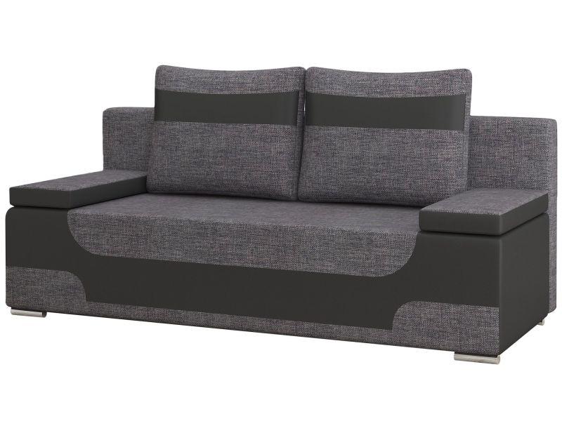 canap convertible 2 places en tissu gris fonc et pvc noir avec coffre de rangement p 18886. Black Bedroom Furniture Sets. Home Design Ideas