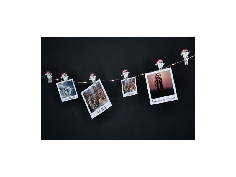 Feeric christmas - guirlande lumineuse intérieur 10 led et 10 clips père noël pour accrocher vos photos